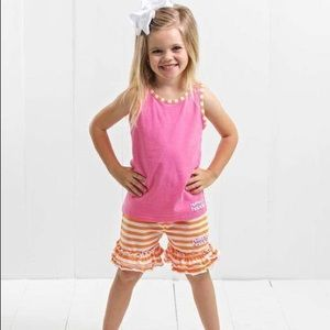 Ruffle Girl Pink Tank & Orange/White Short Set